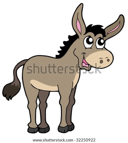 Cute donkey on white background - vector illustration. - stock vector