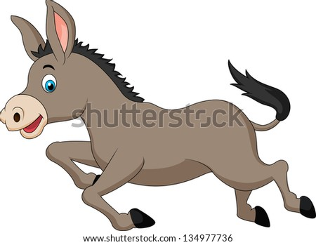 Cute donkey running - stock vector