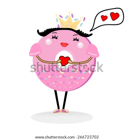 cute Donut Cartoon Character. Qeen  Donut, Mrs  Donut in love - stock vector