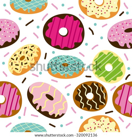 Cute Donuts with colorful glazing. Seamless pattern  - stock vector