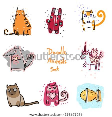 Cute doodle animals illustration set - stock vector
