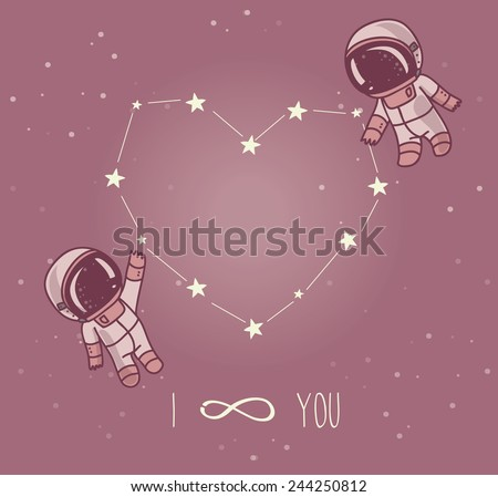 cute doodle astronauts couple and heart formed constellation, cosmic card for valentine's day, vector illustration - stock vector