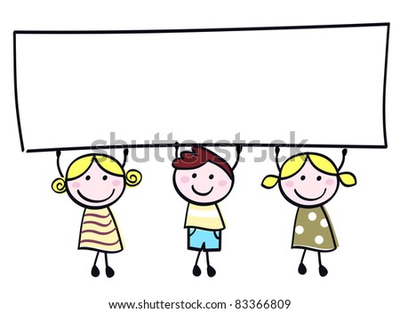 Cute doodle children holding blank banner sign isolated on white. Happy cute little girls and boy holding empty blank banner - cartoon illustration. - stock vector