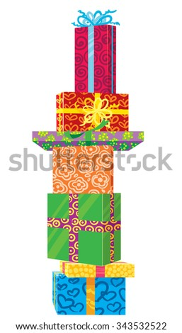 Cute doodle Christmas gifts - stock vector