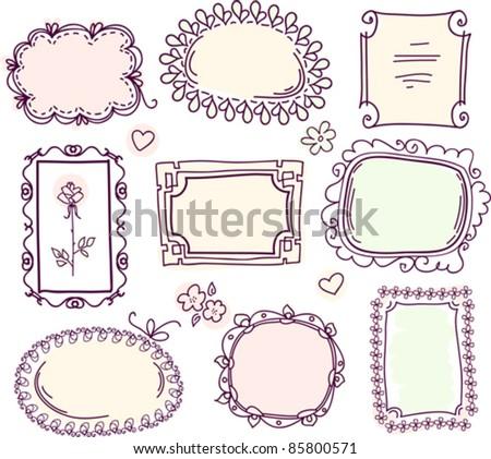 cute doodle floral vector frame set - stock vector