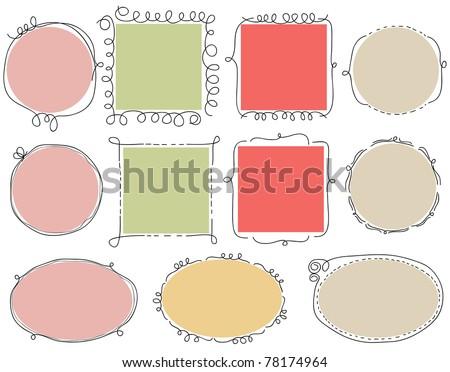 Cute doodle frames - stock vector