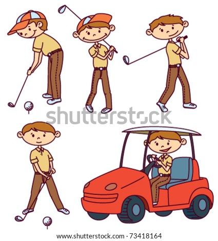 Cute doodle Golf players set - stock vector