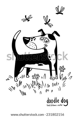 Cute doodle hand-drawn dog - stock vector