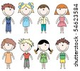 Cute doodle happy kids isolated on white background - stock vector