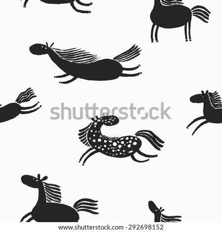 Cute doodle horses seamless pattern - stock vector