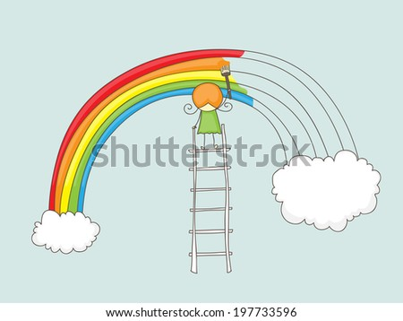Cute doodle of a girl painting a rainbow between two clouds on a ladder - stock vector