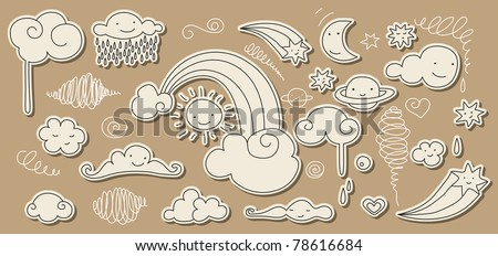 Cute doodle of sky elements: sun, moon, clouds, stars and rainbow.