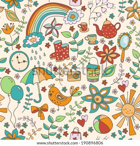 Cute doodle seamless pattern, childish style, different romantic things. Enjoy life concept. Use for wallpaper, pattern fills, web page background,surface textures.  - stock vector