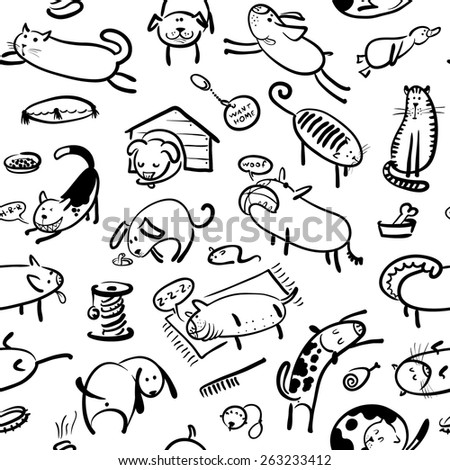 Cute doodle seamless pattern with cats and dogs in black and white colors - stock vector