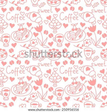 Cute doodle seamless pattern with hearts and sweets. Coffee backdrop. Happy Valentine's Day background. Pink pattern - stock vector