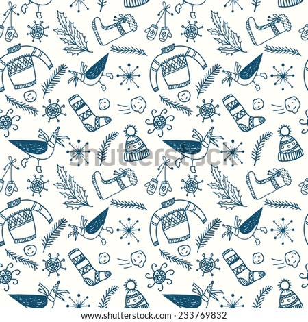 Cute doodle seamless pattern with winter and Christmas theme: clothes, snow,  tree. - stock vector