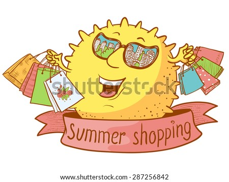 Cute doodle sun character with shopping bags - stock vector