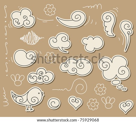 Cute doodle with clouds, angel-wings and bird - stock vector