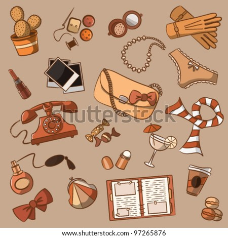 Cute doodle with different vintage female things. - stock vector