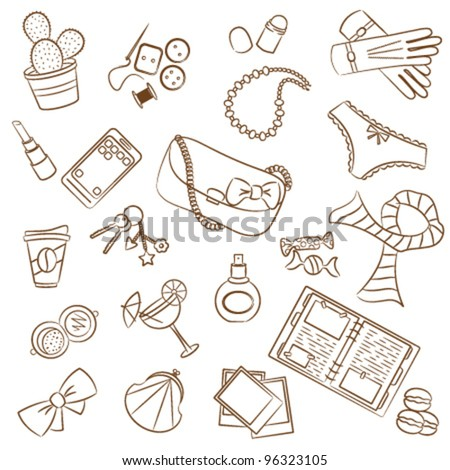 Cute doodle with differents female things - stock vector