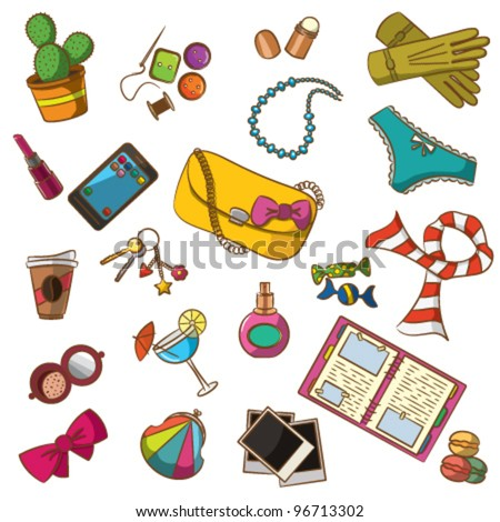 Cute doodle with differents female things. Color version. - stock vector