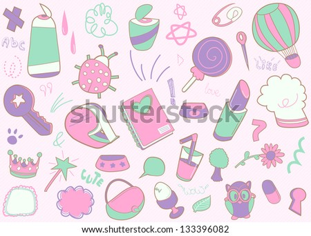 cute doodled vector set