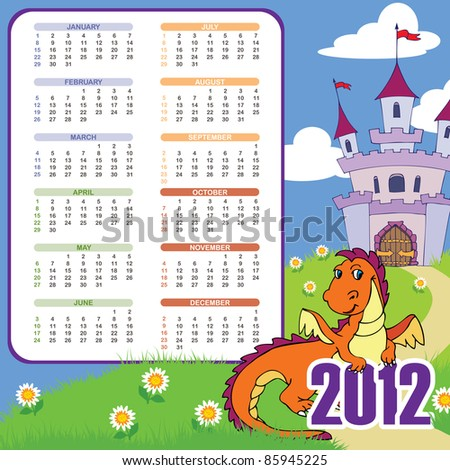 Cute dragon calendar; week starts SUN; 210mmx210mm; bleed left - stock vector