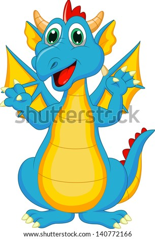 Cute dragon cartoon - stock vector