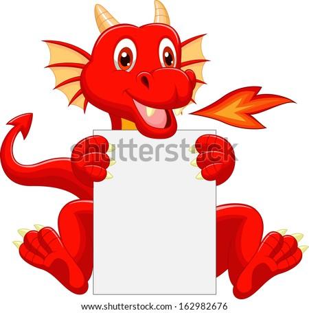 Cute dragon cartoon holding blank sign - stock vector