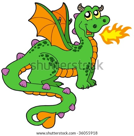 Cute dragon with long tail - vector illustration. - stock vector