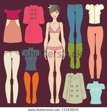 paper doll template woman - cute dress paper doll autumn wardrobe stock vector