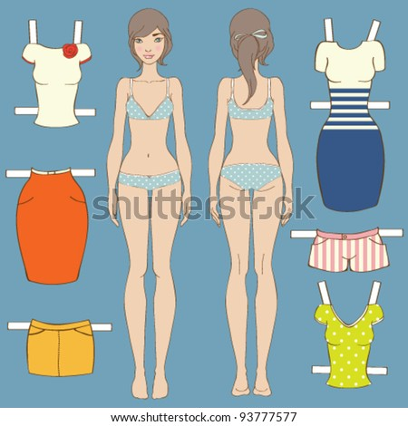 Cute dress up paper doll Body template - stock vector