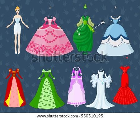 Cute Dress Paper Doll Princess Going Stock-Vektorgrafik 550510195 ...
