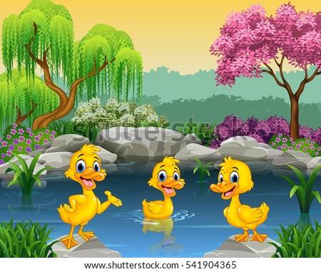cute ducks swimming on pond stock vector 541904365