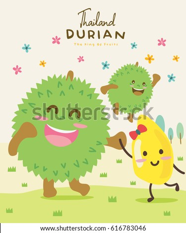 Cute Durian Vector illustration 3