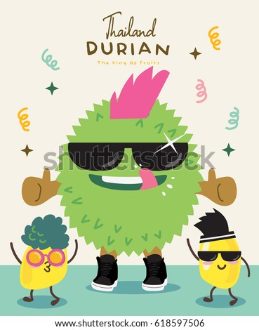 Cute Durian Vector illustration 7