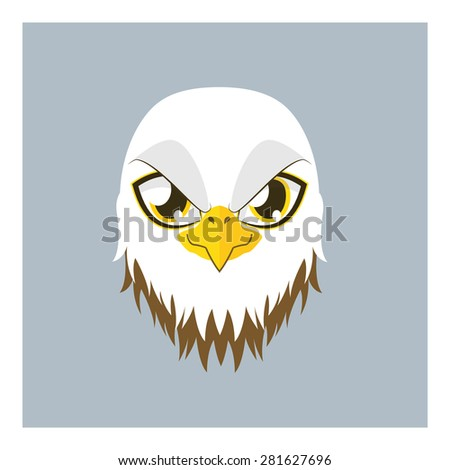 Cute eagle avatar with flat colors - stock vector