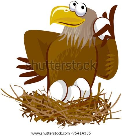 Cute Eagle Cartoon Character - stock vector