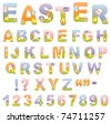 Cute easter ABC alphabet (EPS10) - stock vector