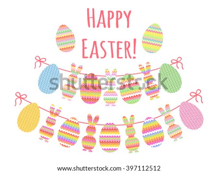 Cute Easter bunting with knitted eggs, bunny and hand written text Easter for your decoration - stock vector