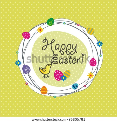 Cute Easter Card - stock vector