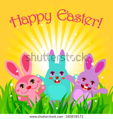 Cute Easter card with bunnies