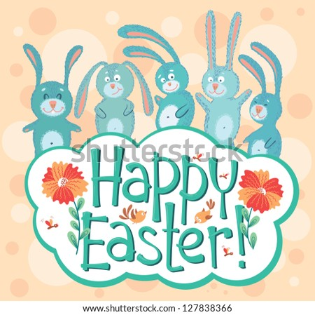 Cute Easter card with bunny and birds - stock vector
