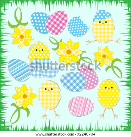 Cute easter chickens.Vector textile stickers - stock vector