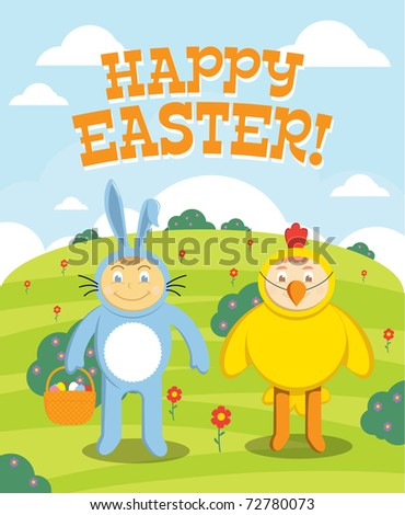 Cute Easter children hunt for eggs outside. perfect for holiday greeting card