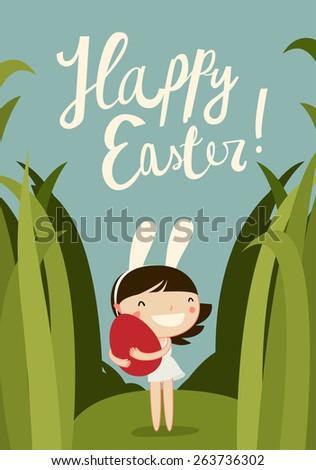 cute easter girl. easter egg hunt card. flat vector illustration - stock vector