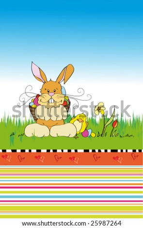 Cute easter spring scenery with little rabbit - stock vector