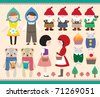 Cute Element Design. Cartoon Character and Animals Vector Illustration. - stock photo