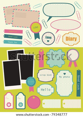 cute elements for scrap booking. vector illustration