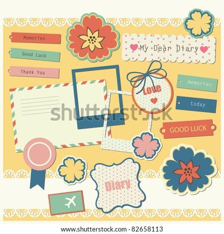 cute elements for scrap-booking. vector illustration - stock vector